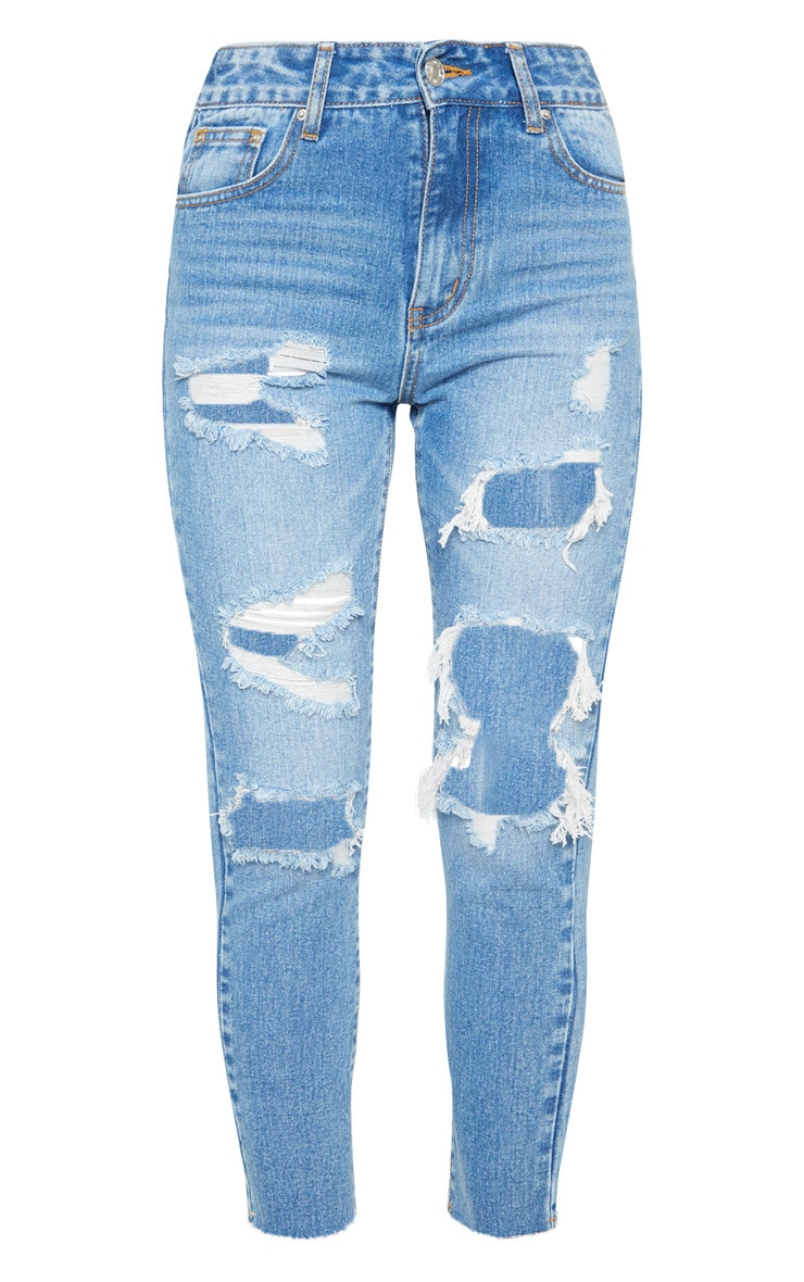 Mid Wash Extreme Distressed Mom Jean  3