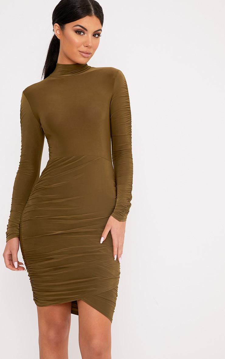Sinitah Khaki Long Sleeve Ruched Bodycon Dress 1