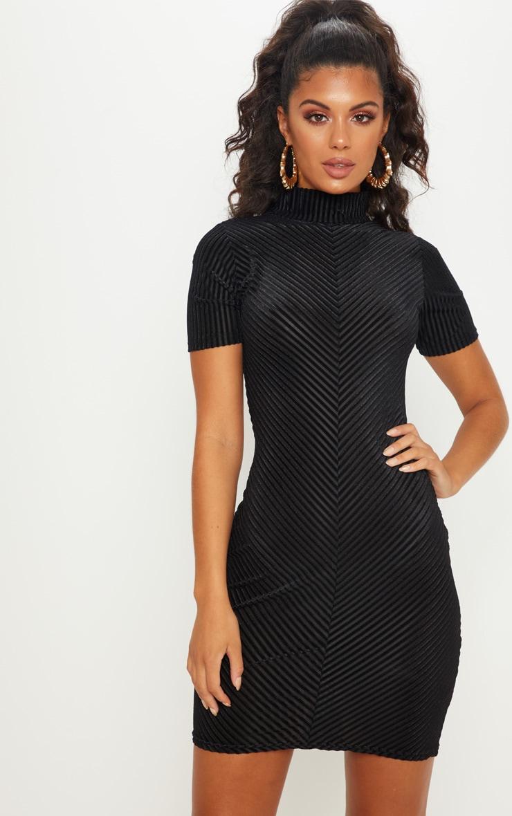 Black Striped Velvet High Neck Bodycon Dress by Prettylittlething