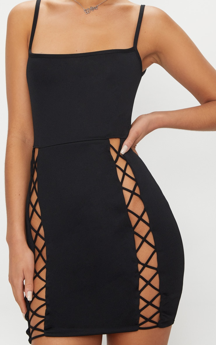Black Strappy Square Neck Lace Up Thigh Bodycon Dress 5