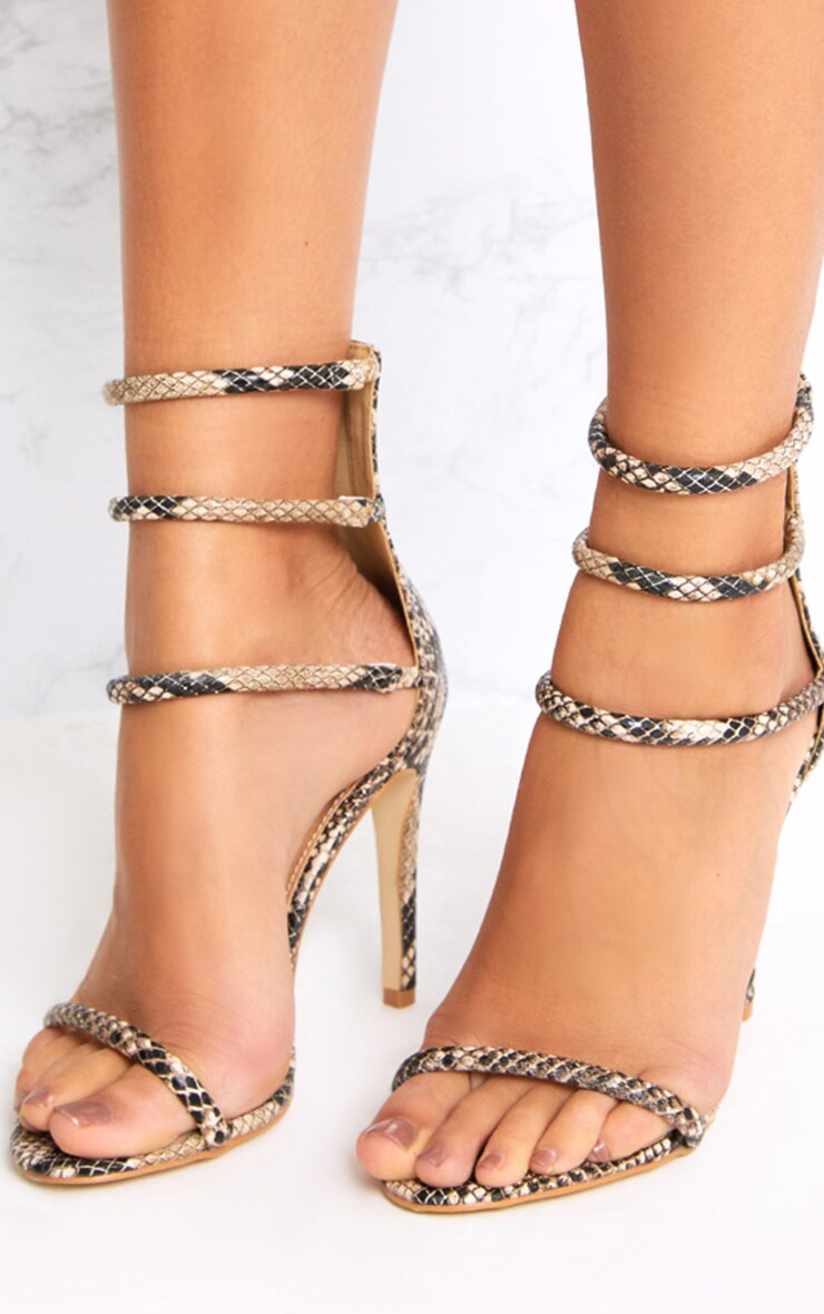 Nadine Nude Snake Print Strappy Heeled Sandals 2