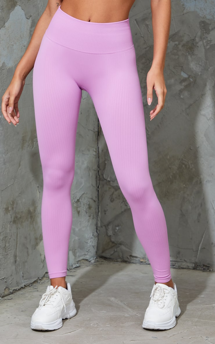 Pink Ribbed Seamless Sports Leggings 2