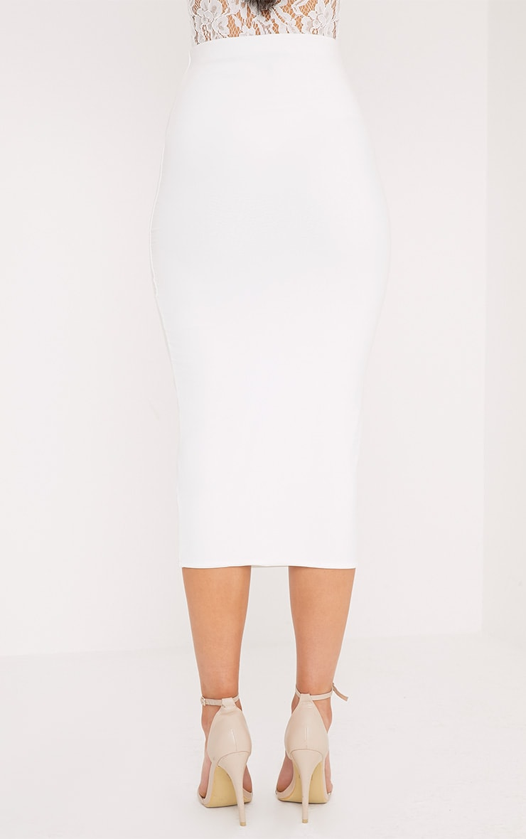 Steffany Cream Slinky Long Line Midi Skirt 4