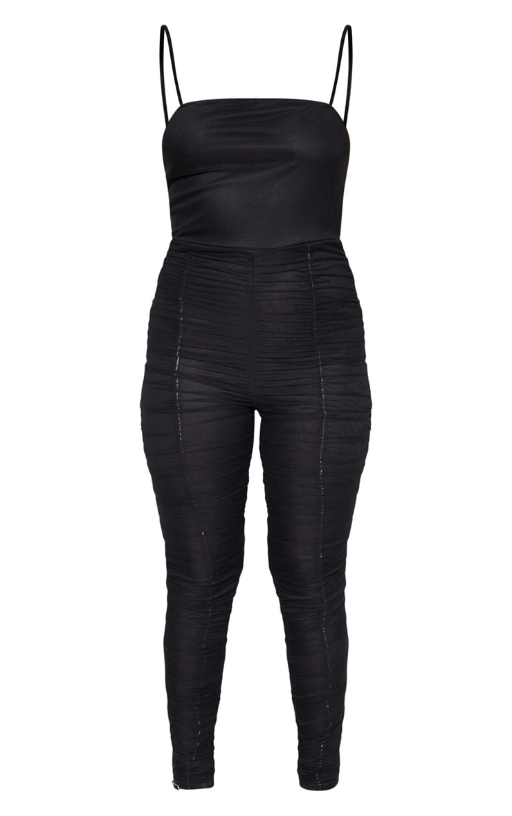 Black Strappy Mesh Ruched Jumpsuit 3