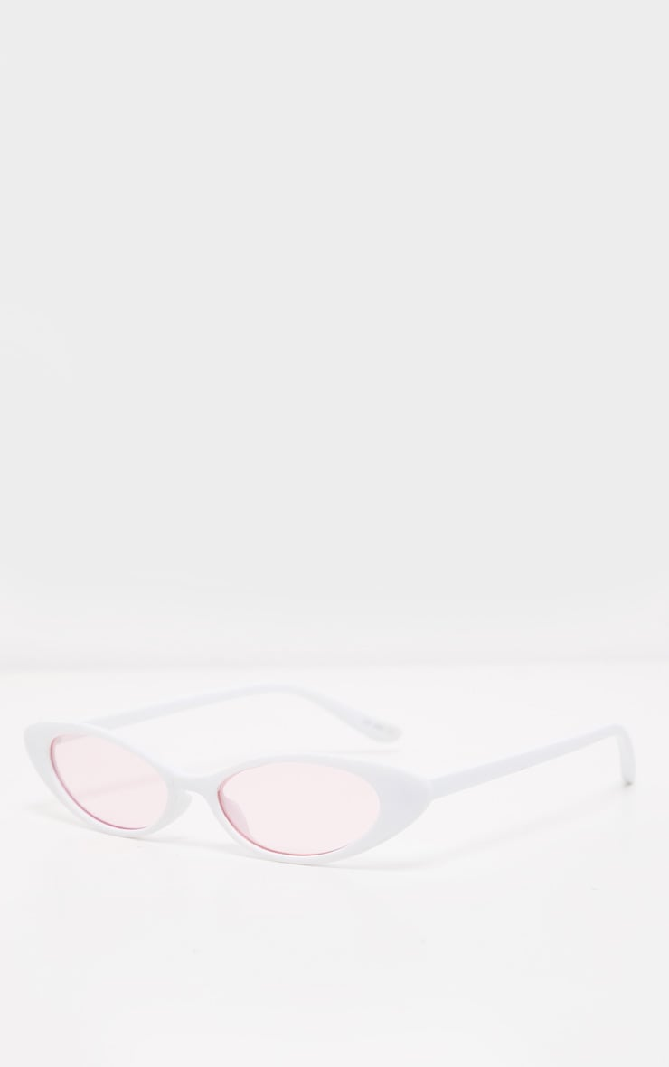 White Frame Pink Lens Slim Cat Eye Sunglasses 3