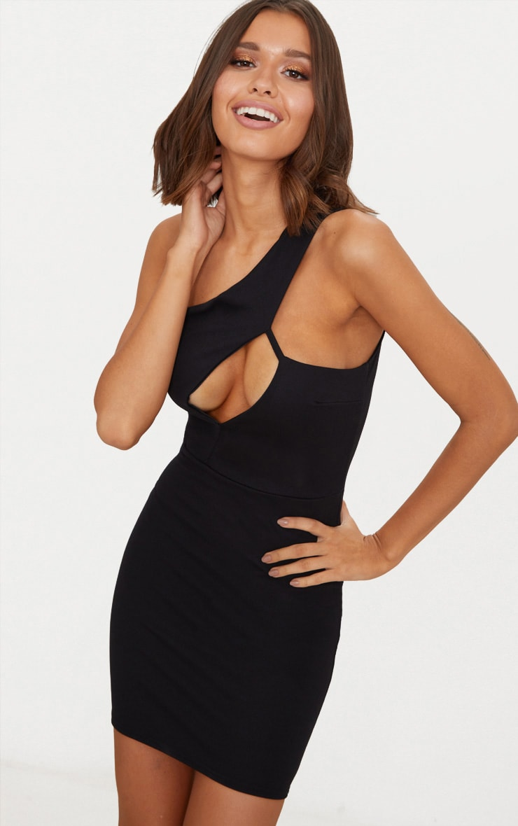 5ed5a0caf Black One Shoulder Cut Out Detail Bodycon Dress image 1