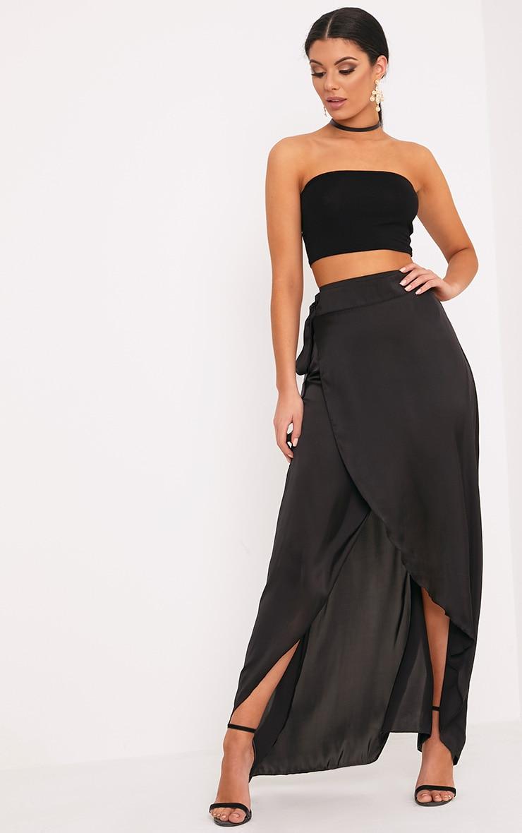 d82e11aac8d5e Sorella Black Satin Wrap Maxi Skirt image 1