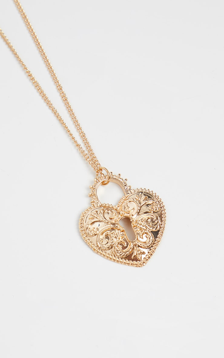 Gold Heart Lock Necklace 1
