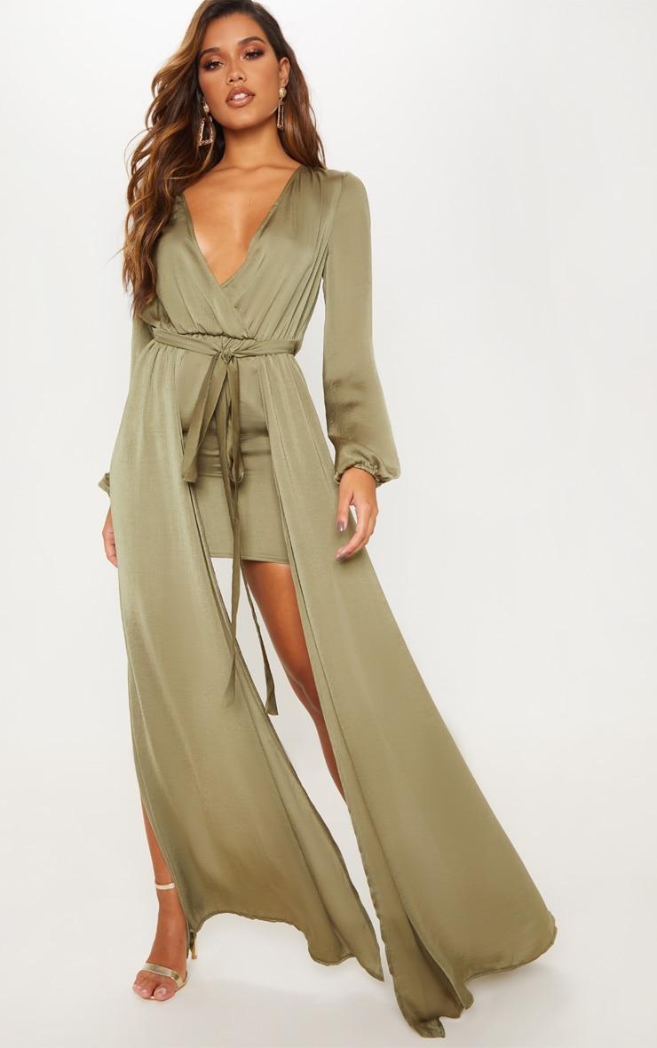 Sage Green Satin Plunge 2 in 1 Maxi Dress 1