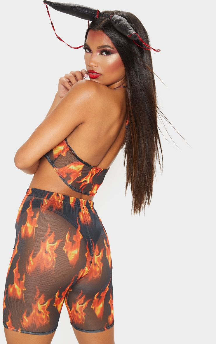 Orange Flame Printed Mesh Halterneck Crop Top 2