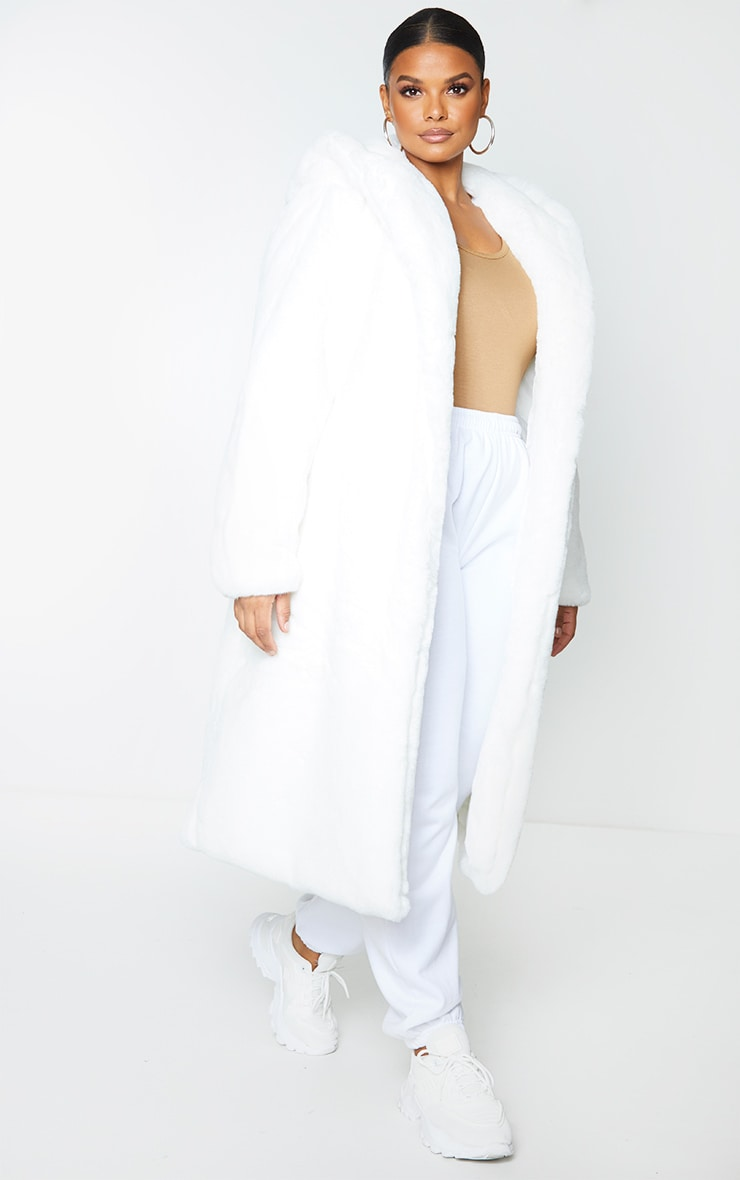 Plus White Premium Longline Faux Fur Hooded Coat 3