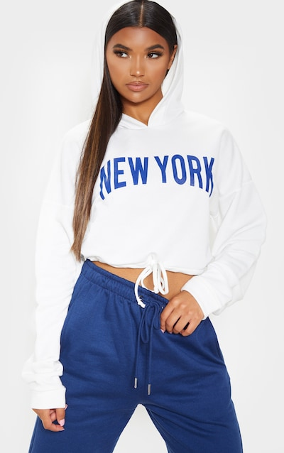 Ecru New York Slogan Drawstring Sweat Crop Hoodie
