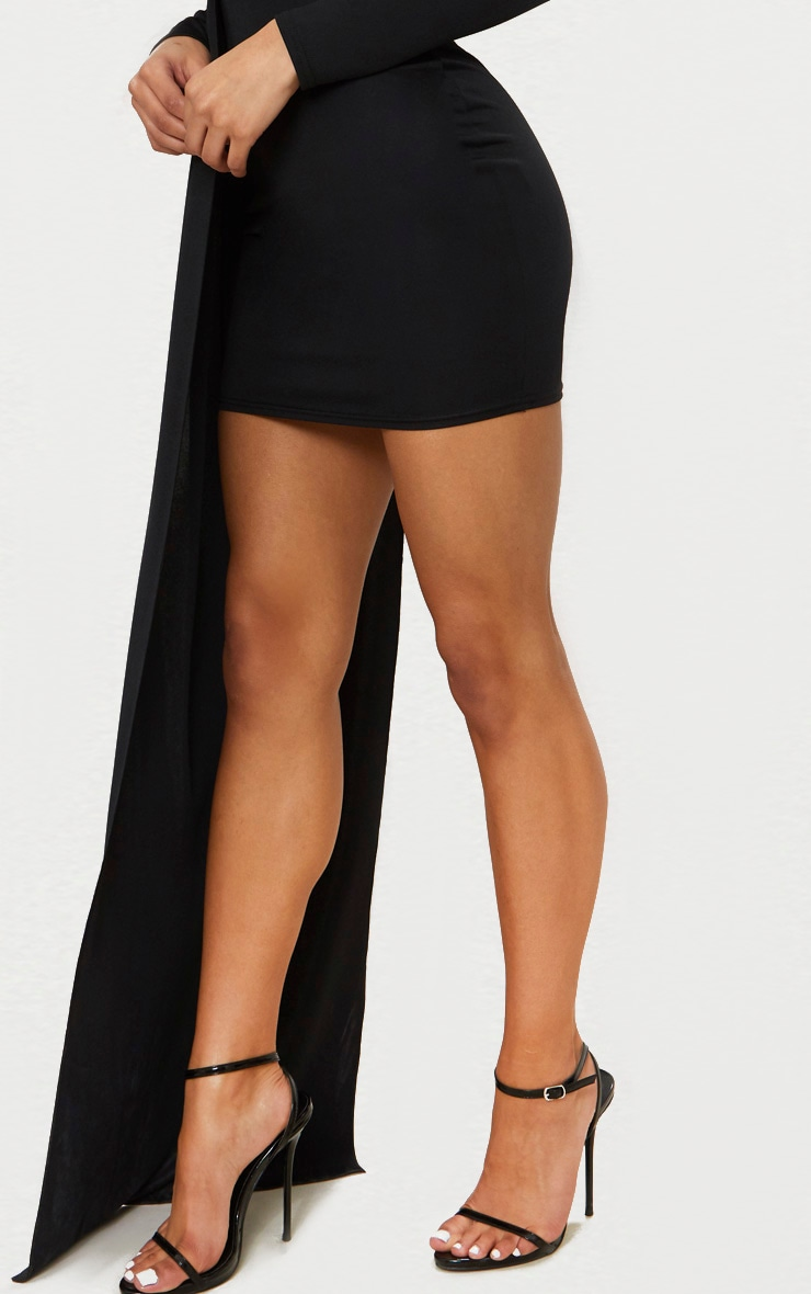 Black One Shoulder Choker Drape Detail Bodycon Dress 5