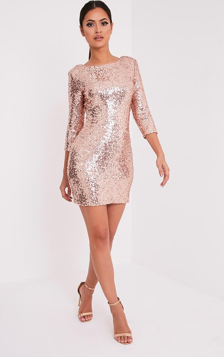 Eida Rose Gold Sequin Bodycon Dress 1