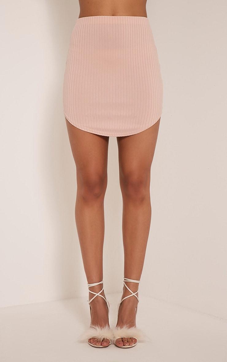 Ariana Nude Ribbed Curve Hem Mini Skirt 2