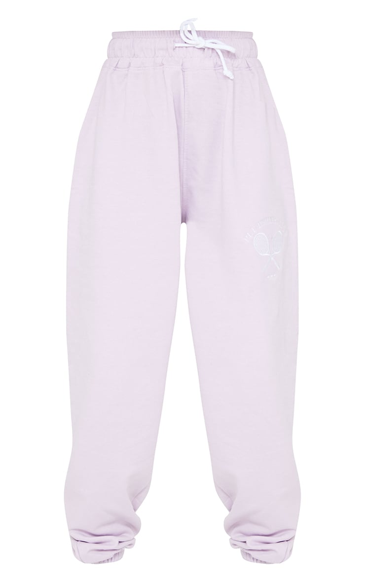 PRETTYLITTLETHING Petite Lilac Tennis Club Oversized Joggers 5