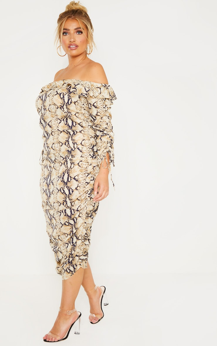 Plus Taupe Snake Print Ruched Side Bardot Dress 4