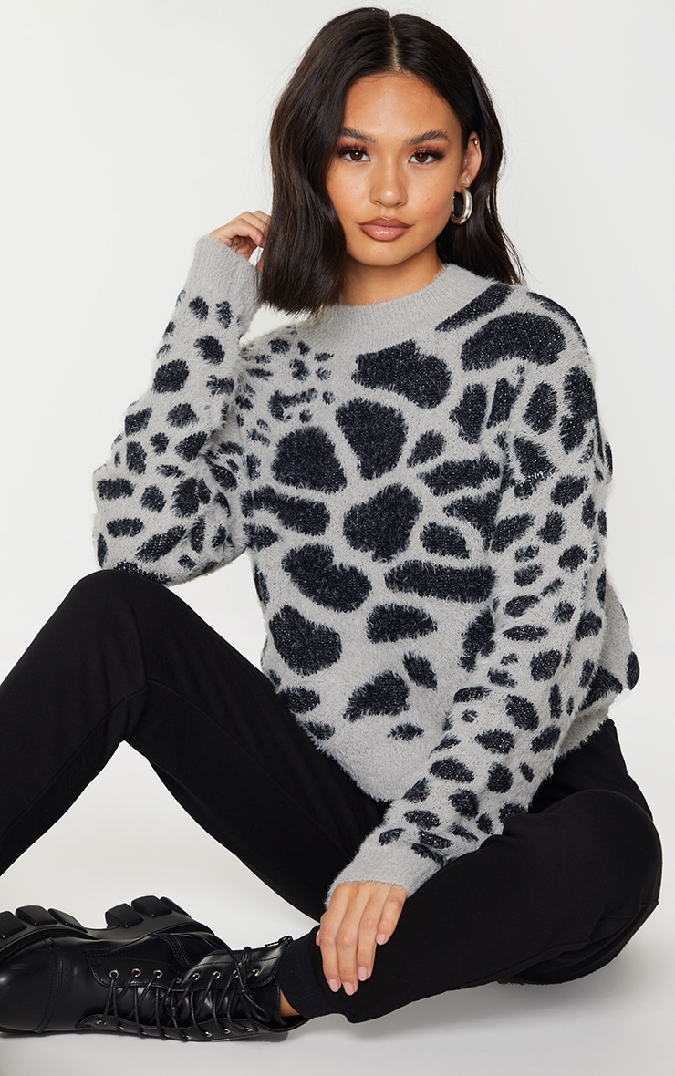 Grey Fluffy Animal Knitted Jumper 1