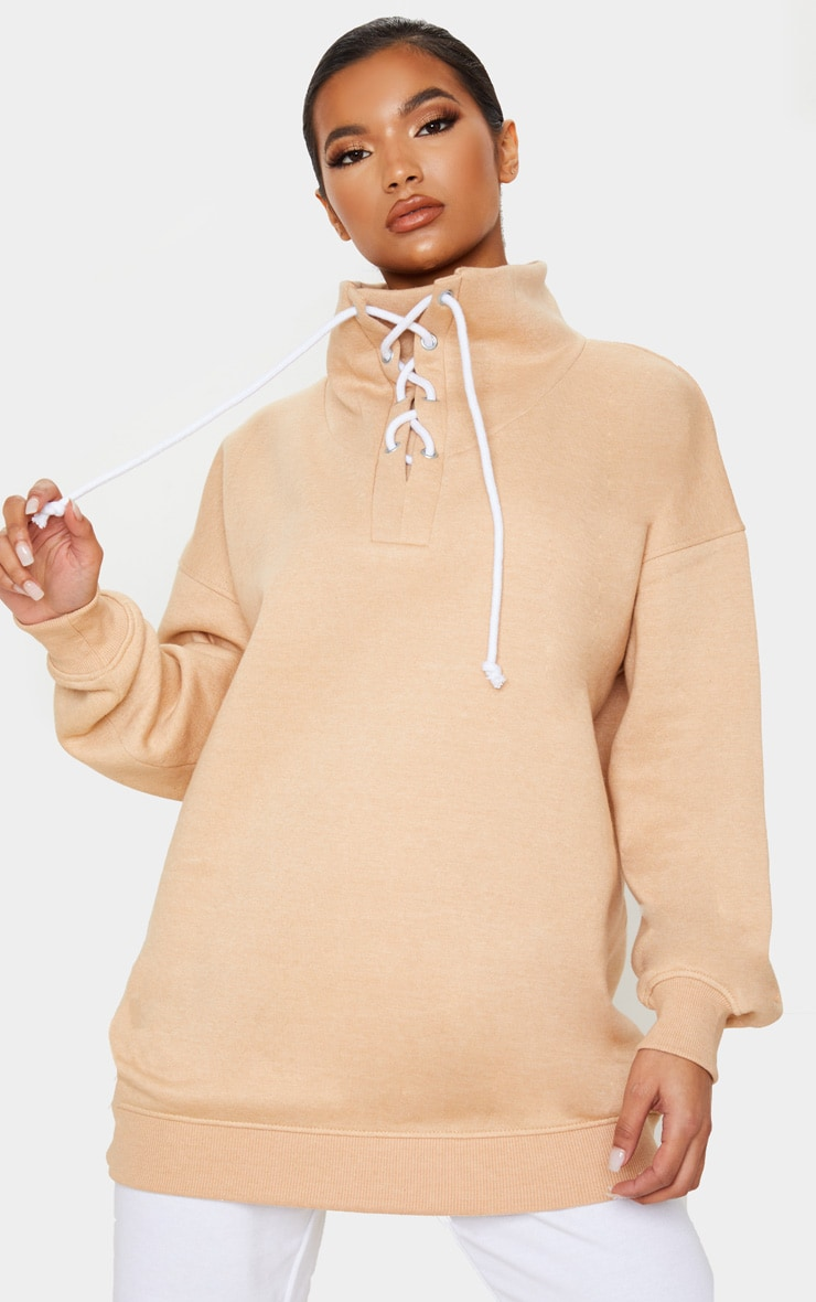 Sand Lace Up High Neck Sweater 1