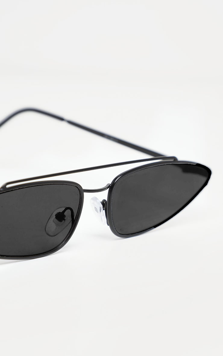 Black Narrow Pointy Retro Sunglasses 3
