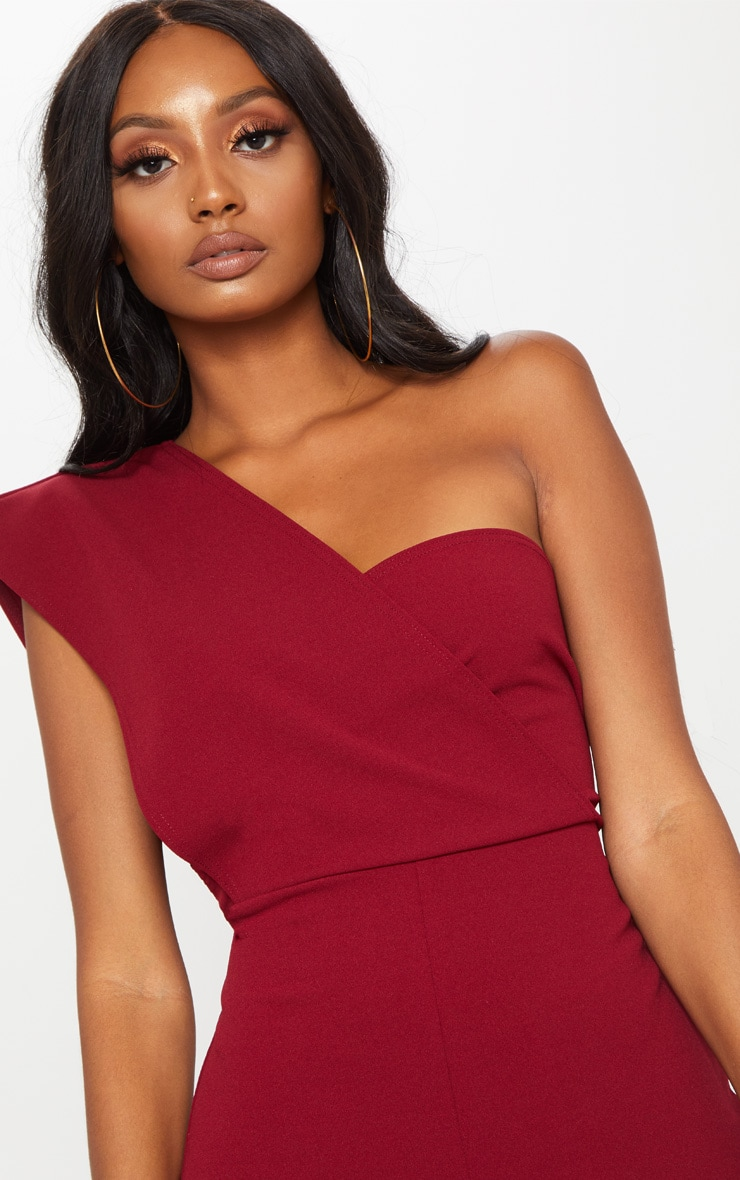Burgundy Drape One Shoulder Jumpsuit 5