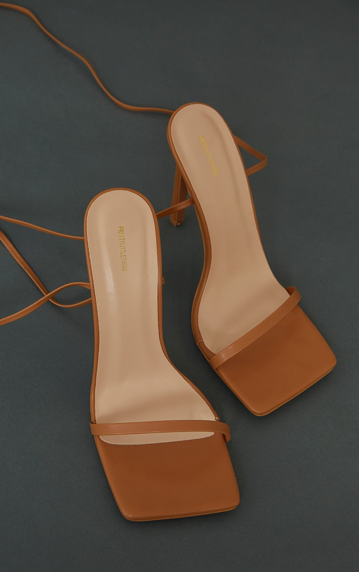 Tan Square Toe Barely There Heeled Sandals 3