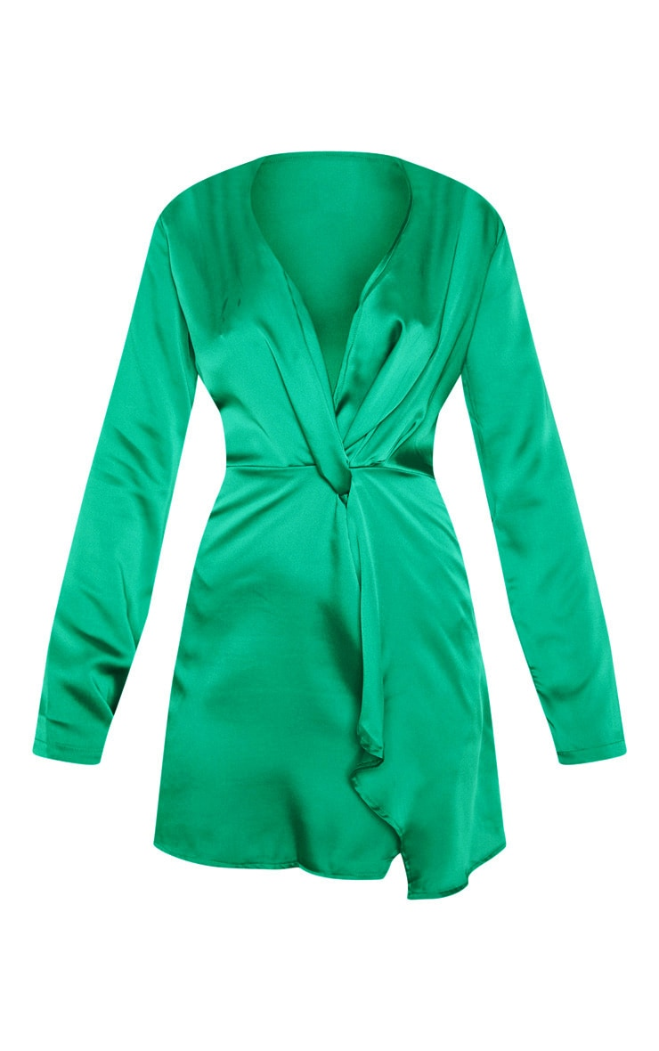 Green Satin Long Sleeve Wrap Dress  3