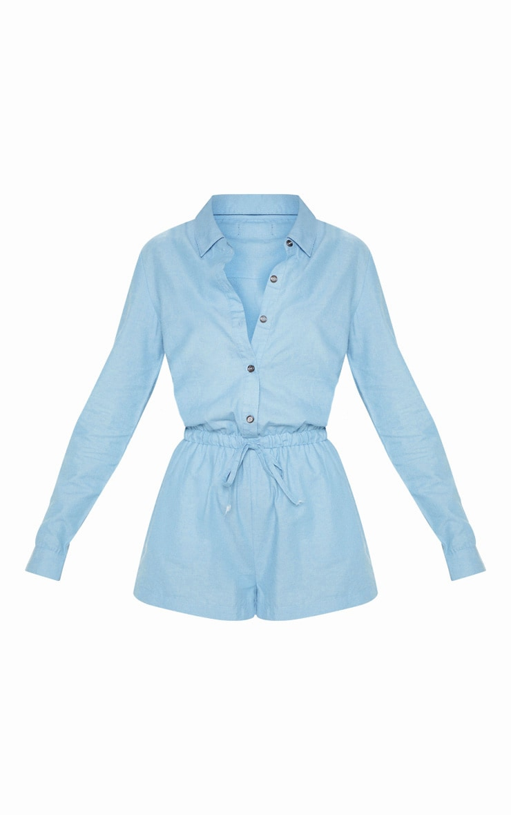Light Wash Chambray Tie Waist  Romper 3