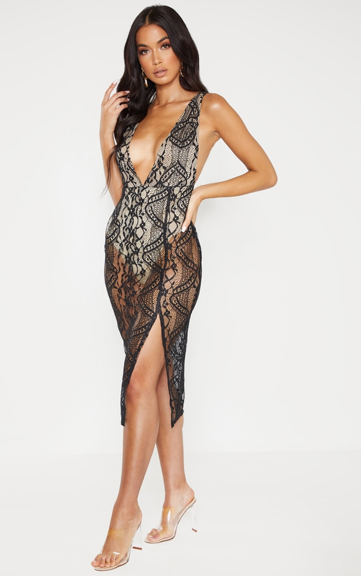 Black Lace Plunge Open Back Midi Dress 1