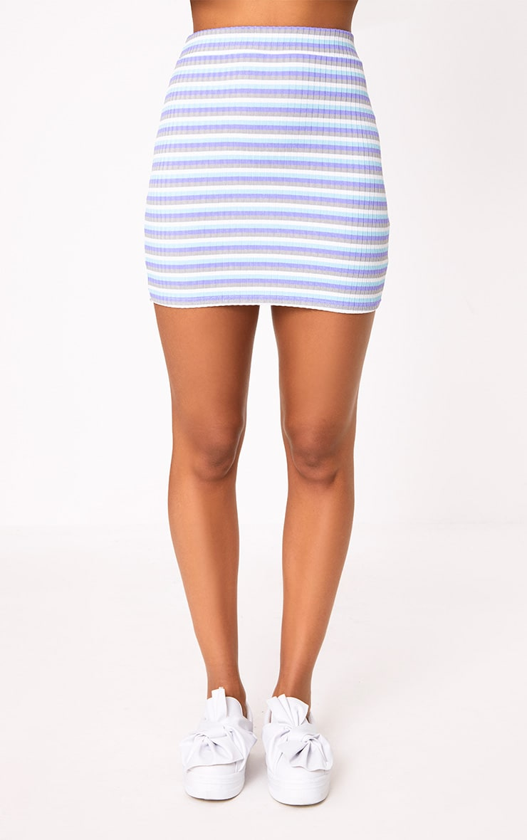 Lilac Ribbed Stripe Mini Skirt 2