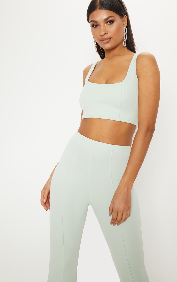 Mint Square Neck Zip Back Crop Top  1