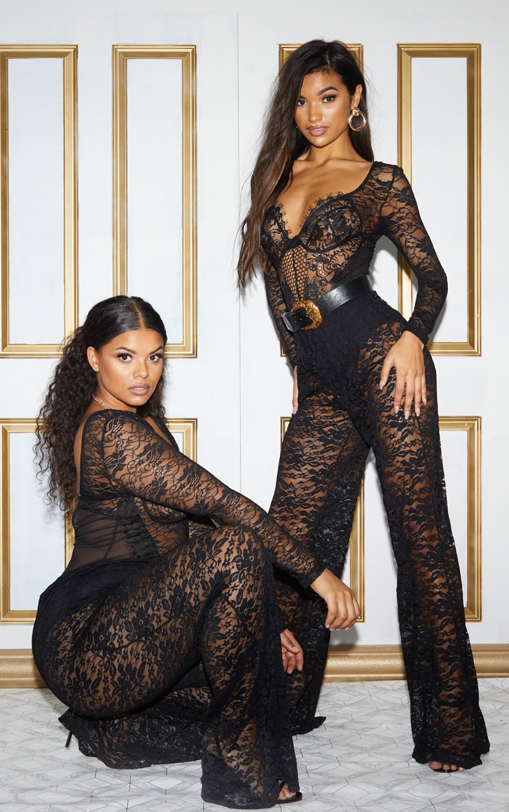 Plus Black Lace Mesh Long Sleeve Bodysuit 2