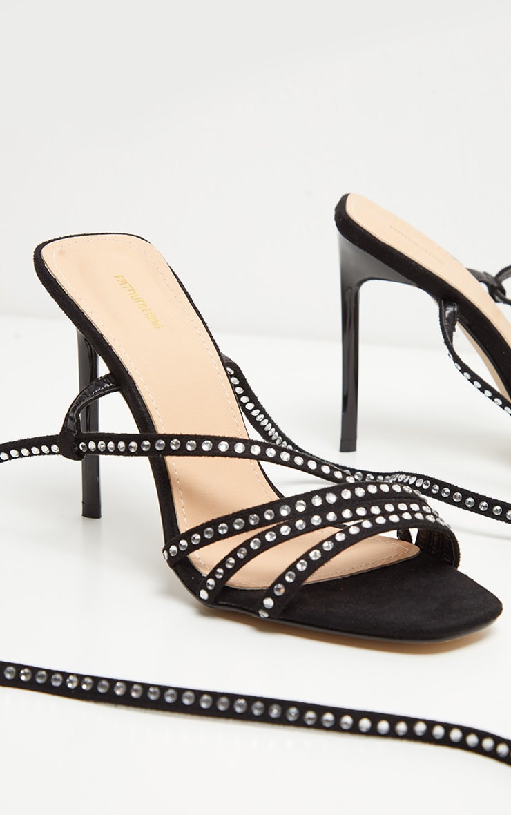 Black Square Toe Jewel Embellished Sandal 3