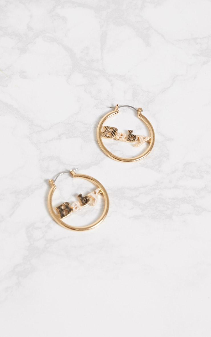 Gold Baby Slogan Hoop Earrings 2