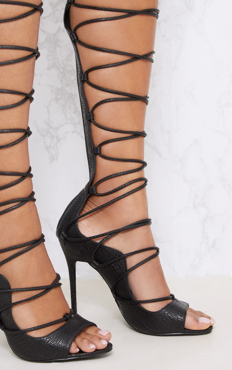Black Thigh High Lace Up Heels 4