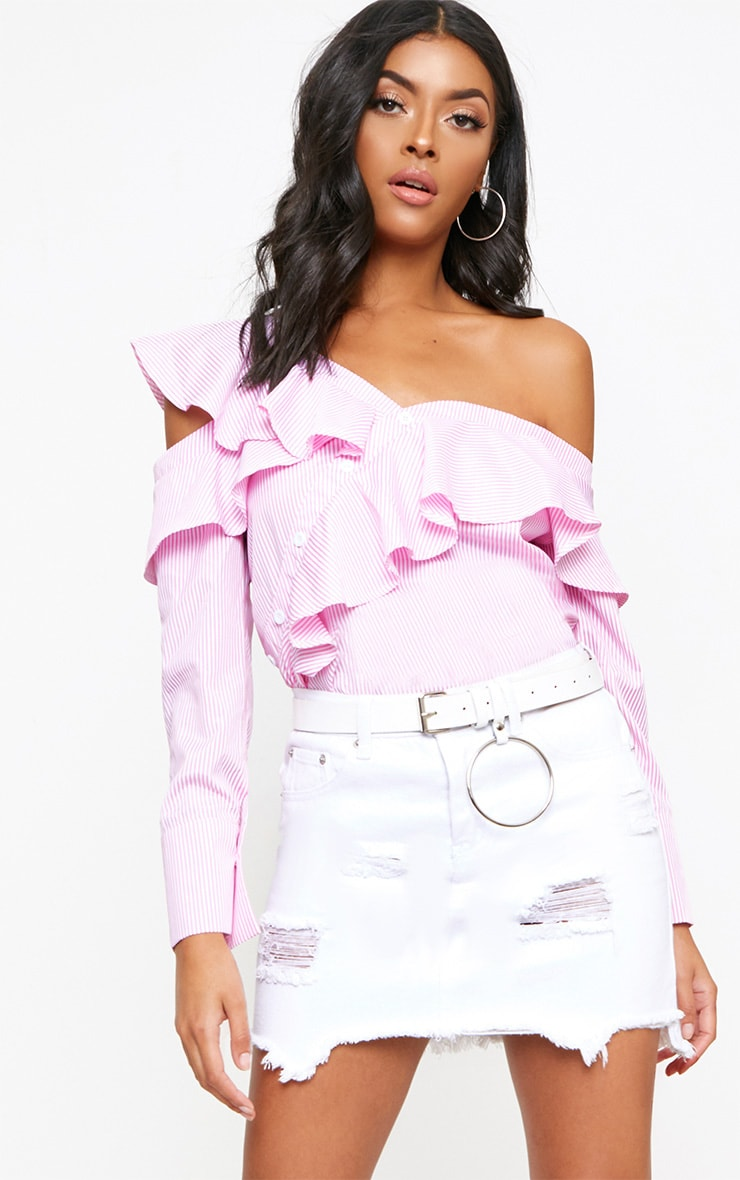 Pink Stripe Off Shoulder Frill Shirt 1