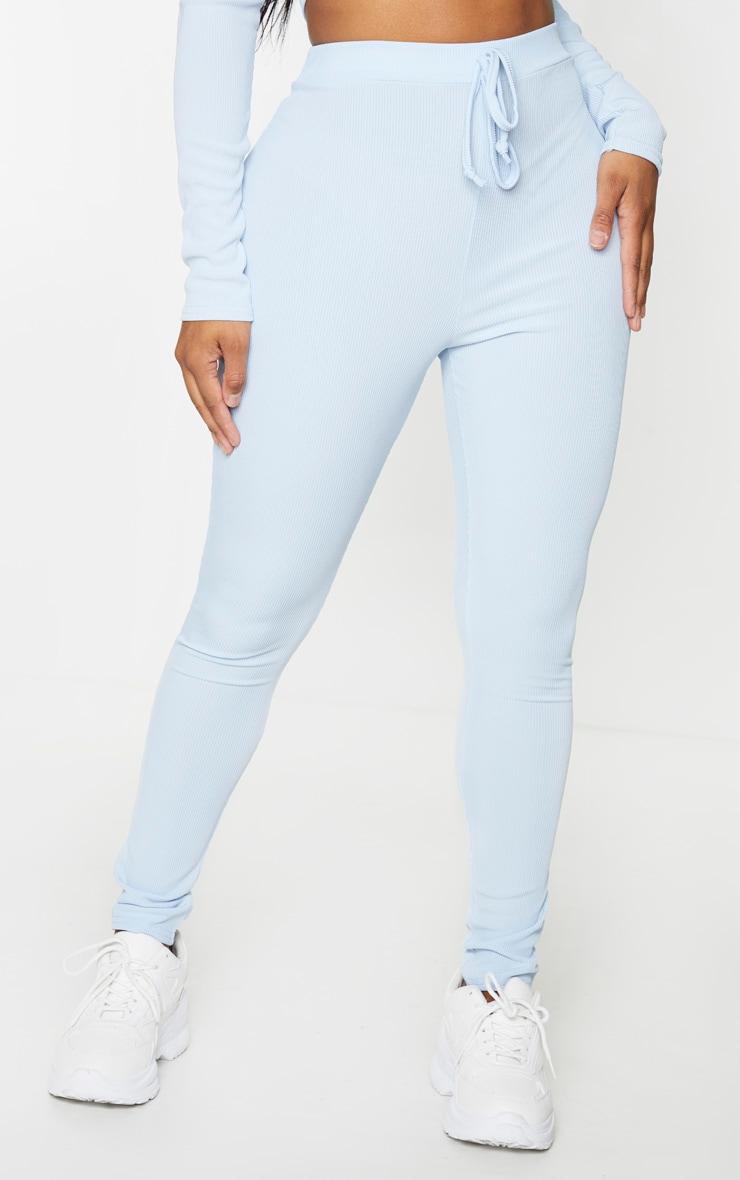 Shape - Legging bleu cendré côtelé taille haute 2