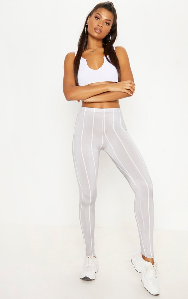 Grey Slinky Stripe Legging