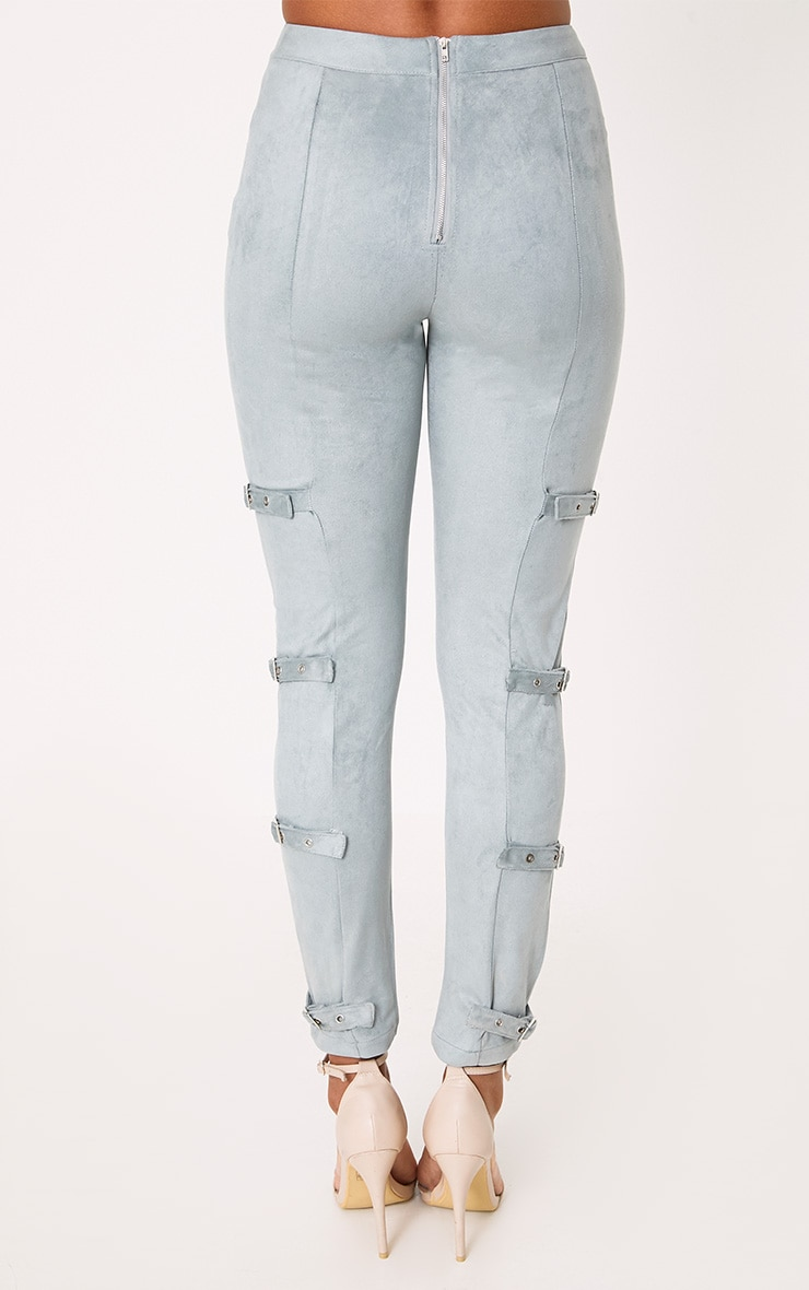 Avi Dusty Blue Faux Suede Buckle Trousers  4