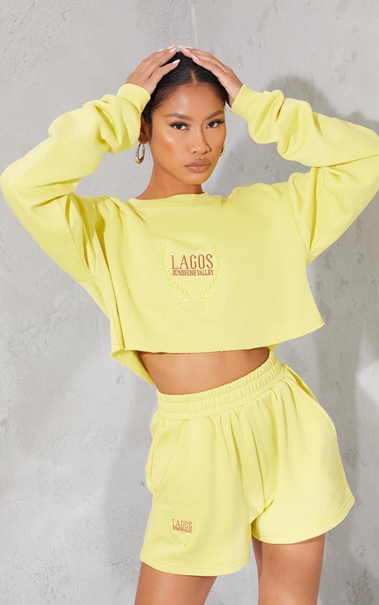 Lime LAGOS Printed Cropped Sweatshirt 1