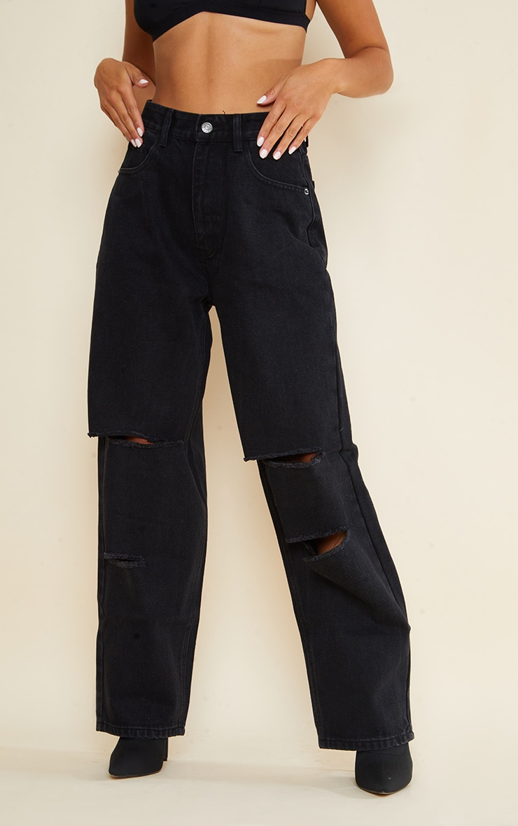 Petite Black Denim Baggy Low Rise Ripped Boyfriend Jeans 2