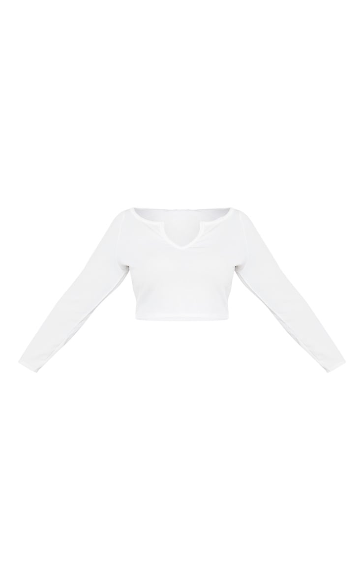 Plus White V Neck Long Sleeve Crop Top  3