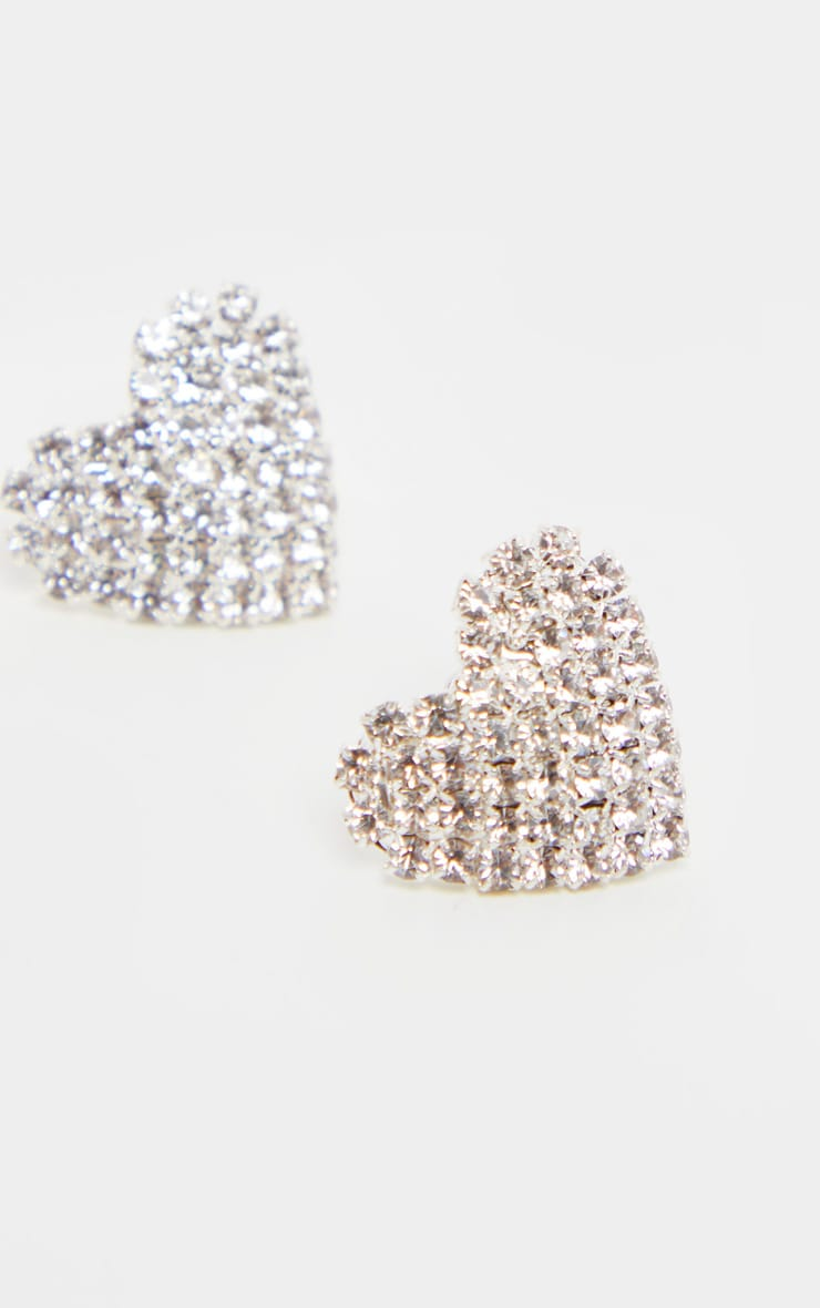 Silver Diamante Heart Stud Earrings 3