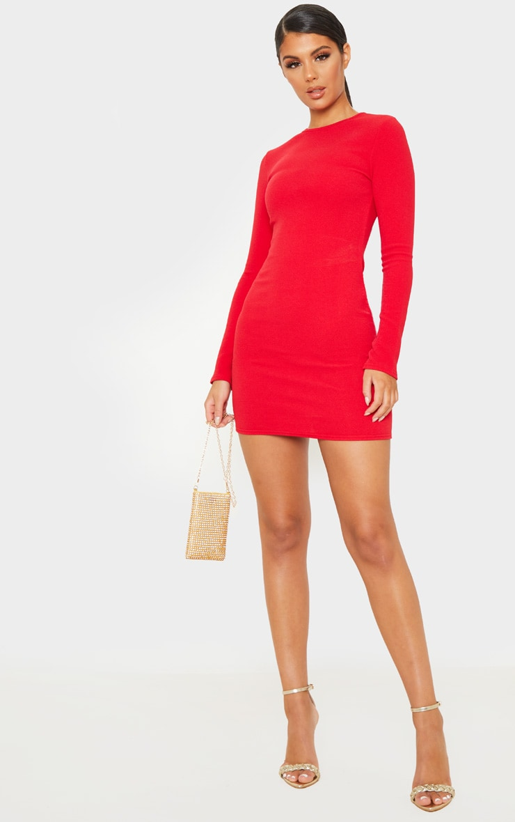 Red Long Sleeve Bodycon Dress 5