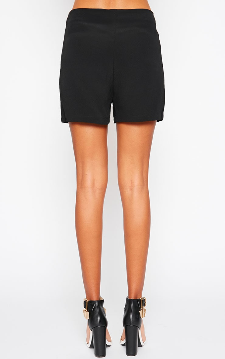 Mikkel Black Zip Front Shorts 2