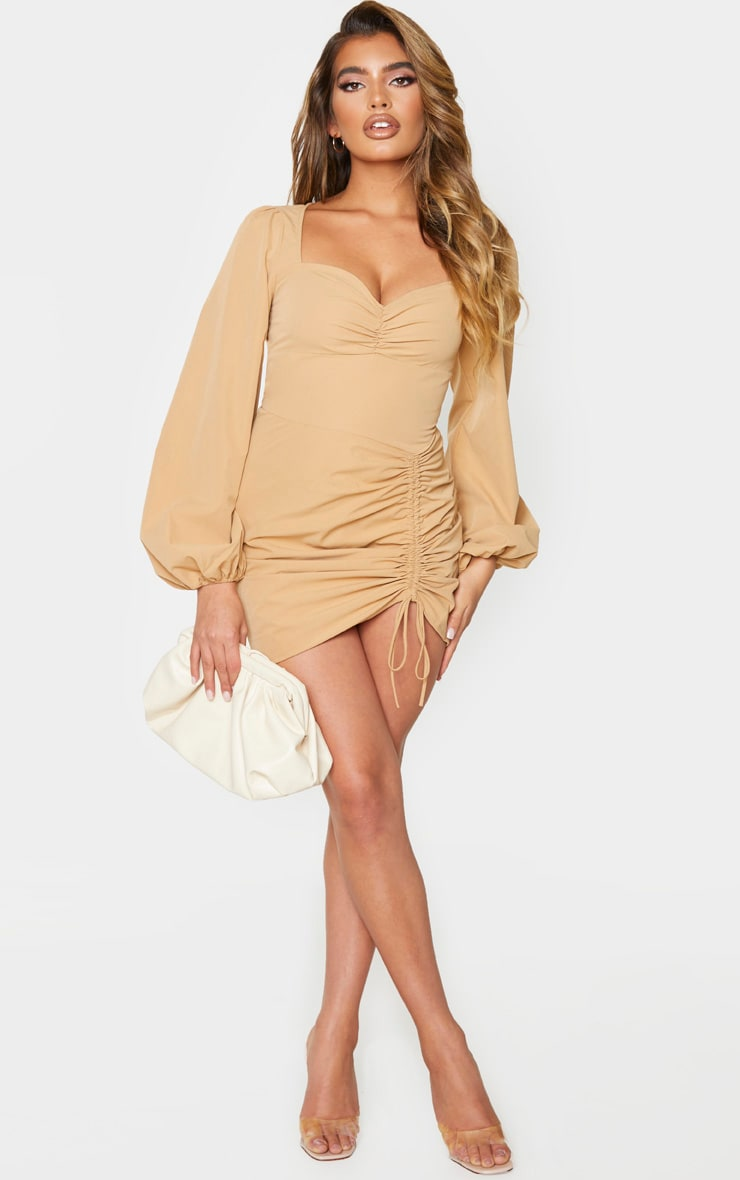 Stone Long Sleeve Sweetheart Neck Ruched Bodycon Dress 3