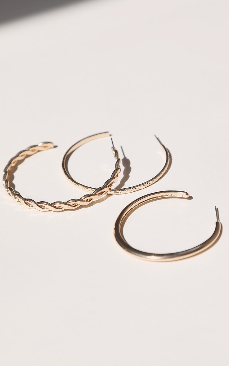 Gold Assorted Textured Multi Pack Hoop Earrings 1