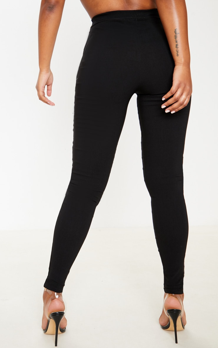 Black High Waisted Woven Stretch Legging 4
