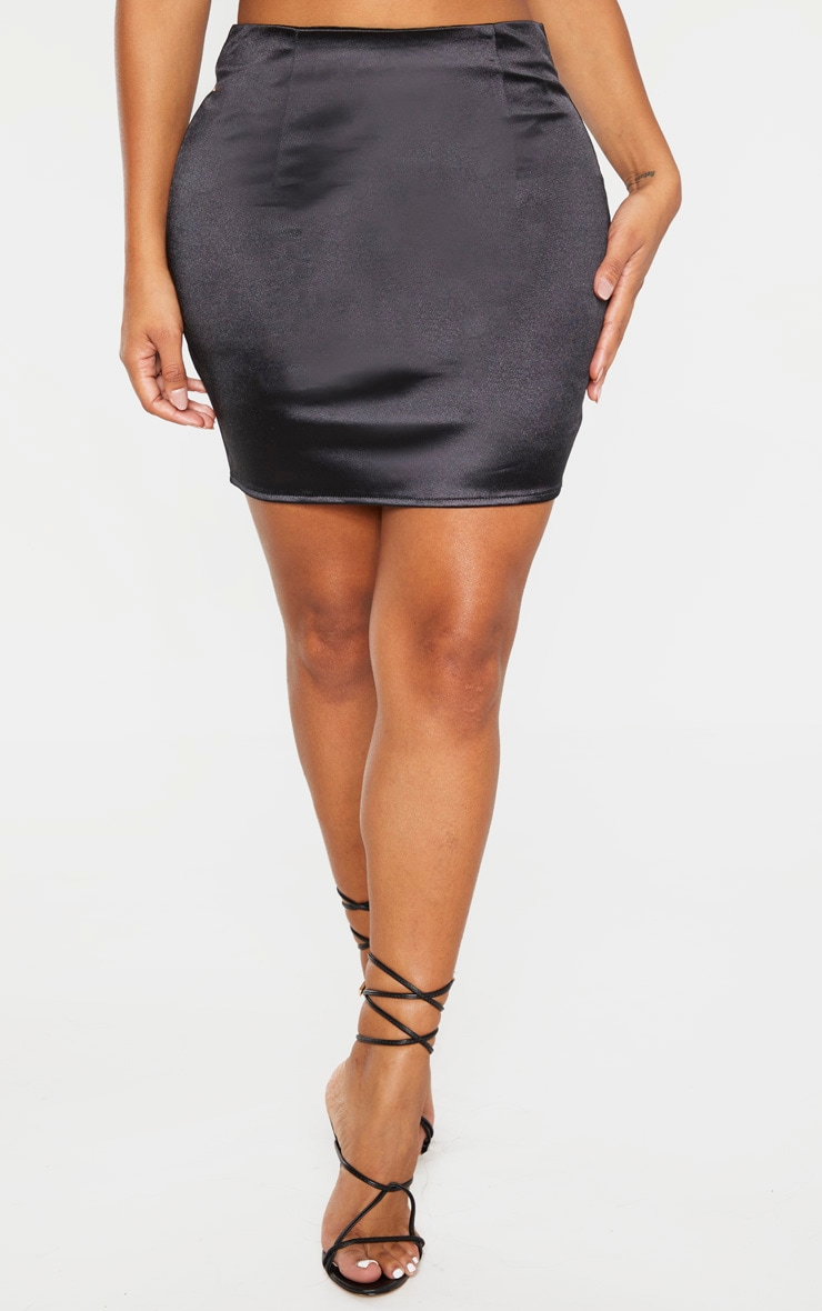 Shape Black Stretch Satin Bodycon Skirt 2