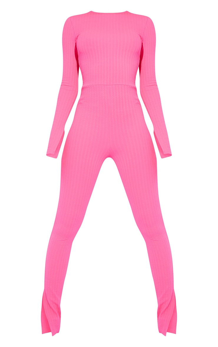 Tall Hot Pink Knitted Long Sleeve Split Hem Jumpsuit 5